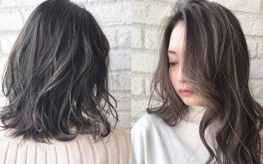 秋冬に大人気のハイライト×暗髪カラーで、顔まわりを明るく見せるおしゃれ髪に♡