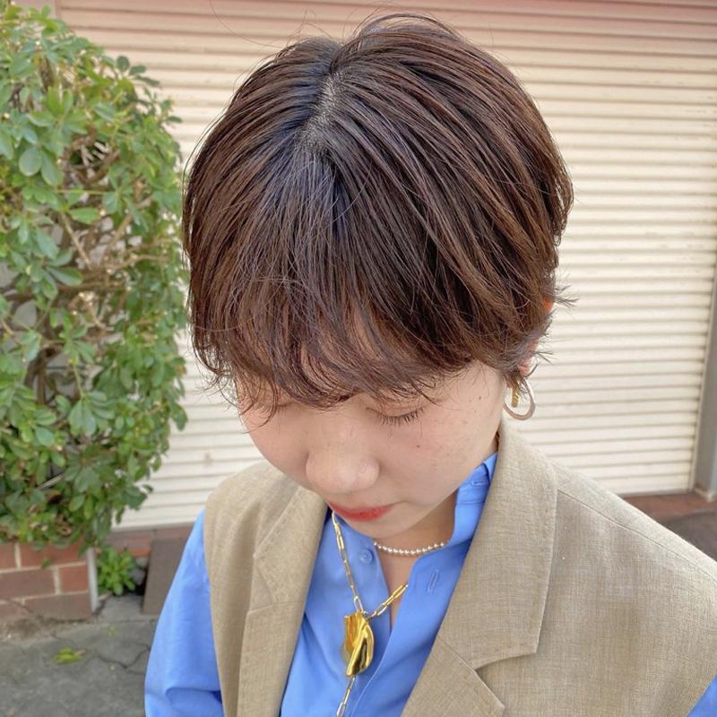 コンパクトショート×前髪パーマ