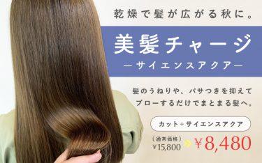乾燥で髪が広がる秋に、甲子園店のサイエンスアクアで美髪チャージ!
